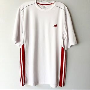 Adidas Climalite Men's Workout Shirt Red Stripe XL